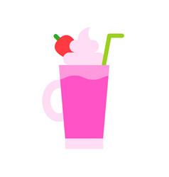 Strawberry milkshake beverage flat style icon vector
