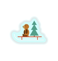 Stylish paper sticker on white background bear toy vector
