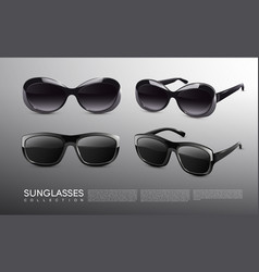 stylish realistic sunglasses collection vector image