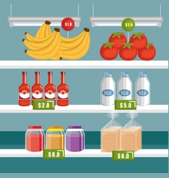 Supermarket groceries in shelving vector