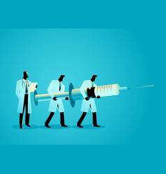 team doctors carrying giant needle vector image