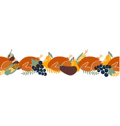 Thanksgiving dinner seamless border vector