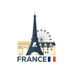 Travel to france paris skyline vector