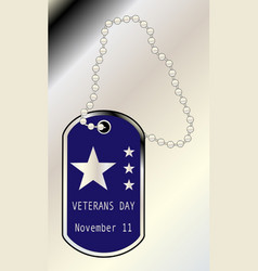 Veterans day dog tag vector