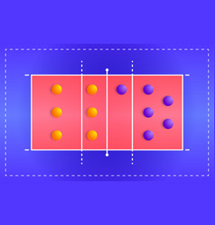 volleyball court with a tactical scheme vector image