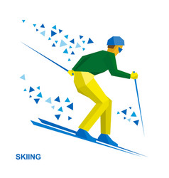Winter sports - skiing skier running downhill vector