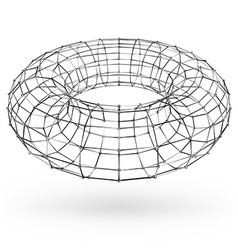 Wireframe polygonal geometric element Torus with vector image