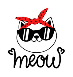 With cute cat in red sunglasses and headband meow vector