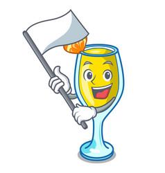 With flag mimosa mascot cartoon style vector