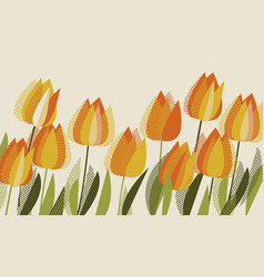 yellow tulip spring floral design element vector image