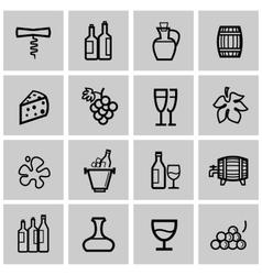black wine icons set vector image vector image