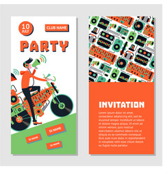 dance party bilateral invitation for nightclub vector image vector image