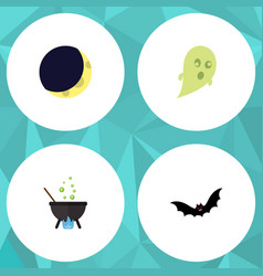 flat icon festival set of phantom crescent magic vector image vector image