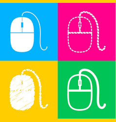 mouse sign four styles of icon on vector image