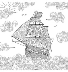ornate image of sailing ship on the wave in vector image vector image