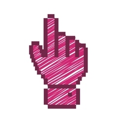 pixelated hand pointing up with fushia striped vector image vector image