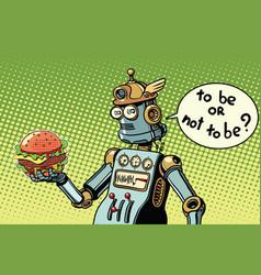 robot hamburger fast food vector image vector image