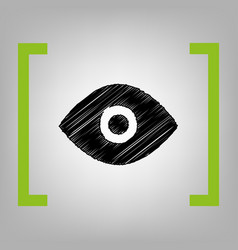 eye sign black scribble icon vector image