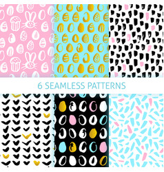 happy easter funky seamless patterns vector image vector image