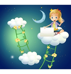 A girl sitting above a cloud holding an empty vector image vector image