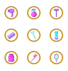 barber shop icons set cartoon style vector image