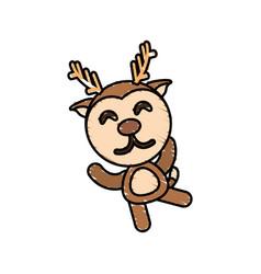 drawing deer animal character vector image