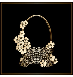 Gold basket with flowers vector image vector image