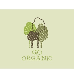 Organic eco green template Vintage ecology poster vector image