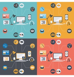 set of computer technology icons in flat design vector image vector image