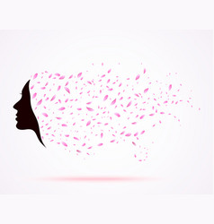 young girl face silhouette with long floral hair vector image