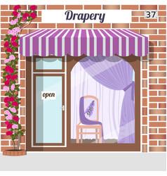 drapery store facade of red bricks vector image vector image