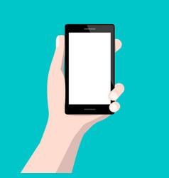 Human hand holding cellphone flat design vector