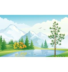 Mountain lake vector image