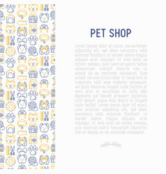 pet shop concept with thin line icons vector image
