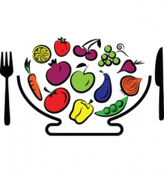 vegetables and fruits bowl vector image vector image