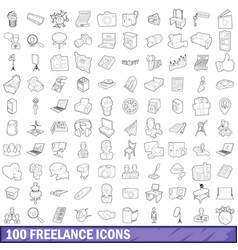 100 freelance icons set outline style vector image
