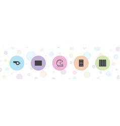 5 football icons vector