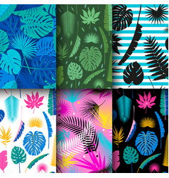 6 seamless tropical jungle floral patterns vector