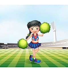 A cheerleader in the soccer field vector image