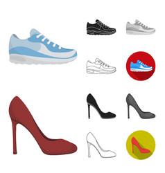 A variety of shoes cartoonblackflatmonochrome vector
