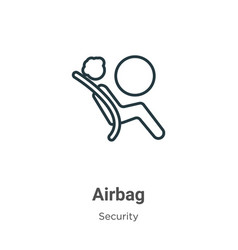 Airbag outline icon thin line black airbag icon vector