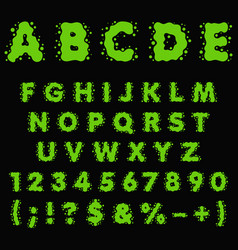 alphabet letters numbers made green slime vector image