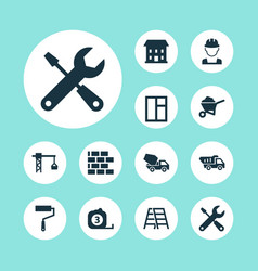 architecture icons set with stepladder builder vector image