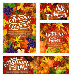 autumn harvest festival posters with vegetables vector image