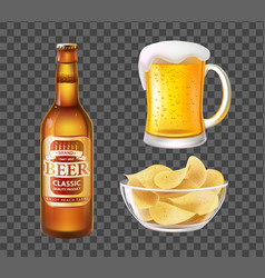 Beer in bottle or mug and chips in glass bowl vector