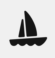 black color yacht icon vector image vector image