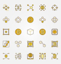 blockchain and cryptocurrency colored vector image