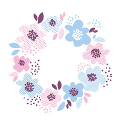 blue and rosy color decorative floral element in vector image