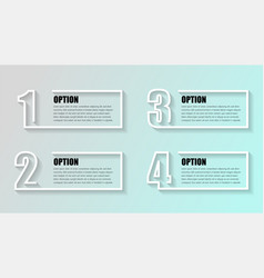 Business infographics timeline with 4 boxs steps vector