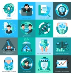 Business Insurance Icons Set vector